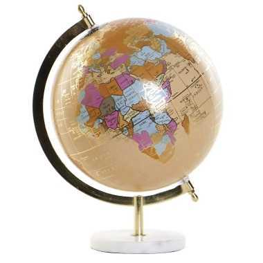Versiering wereldbol/globe beige op marmeren voet 20 x 28 cm