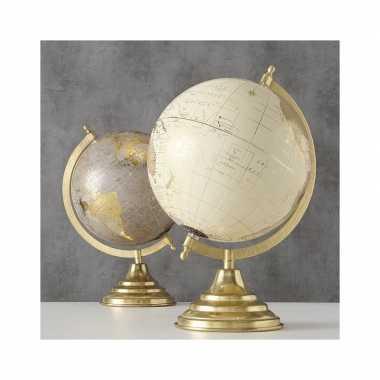 Versiering wereldbol/globe goud/ecru op metalen voet 22 x 34 cm