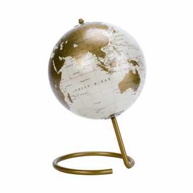 Versiering wereldbol/globe goud op metalen voet 16 x 24 cm
