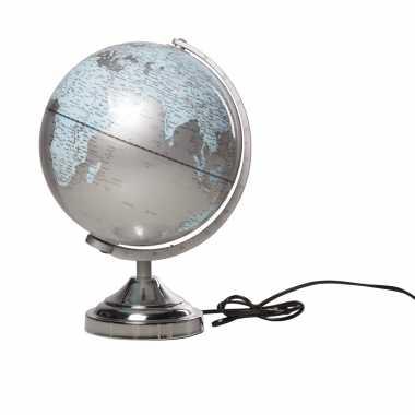 Versiering wereldbol/globe zilver met verlichting op metalen voet 25 x 38 cm