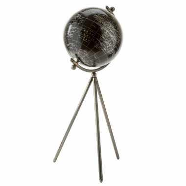 Versiering wereldbol/globe zwart op metalen voet 20 x 57 cm