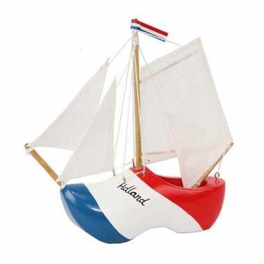 Versiering zeilboot klomp holland met witte masten 20 cm