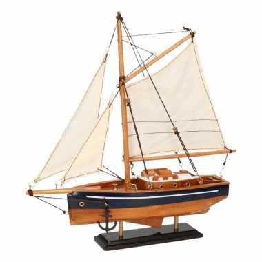 Versiering zeilboot model jacht naturel/blauw 23 cm