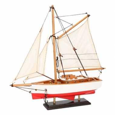 Versiering zeilboot model jacht rood/wit 23 cm