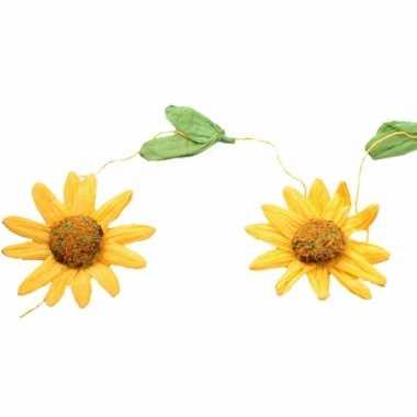 Versiering zonnebloemen slinger geel