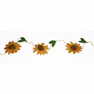 Versiering zonnebloemen slinger oranje