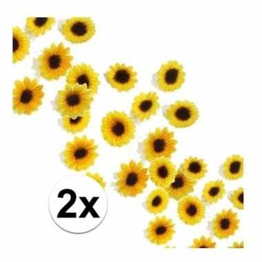 Versiering zonnebloemetjes pakket van 2 zakjes