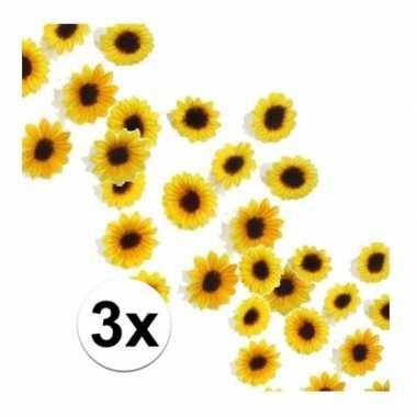 Versiering zonnebloemetjes pakket van 3 zakjes