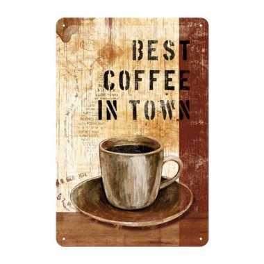 Versieringve plaat muurversiering koffie 20 x 30 cm