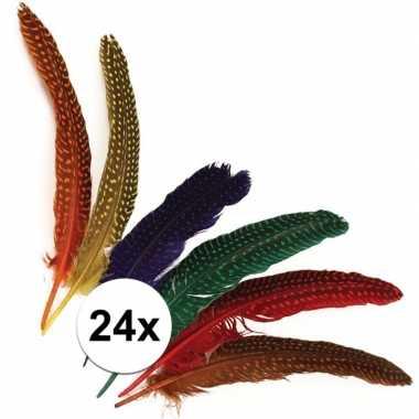 Versieringve veren met stippen 24 stuks