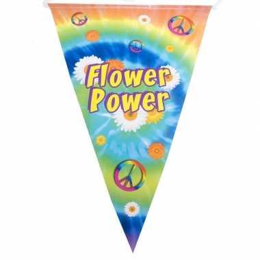 Vlaggenlijn flower power hippie feest versiering 5 meter