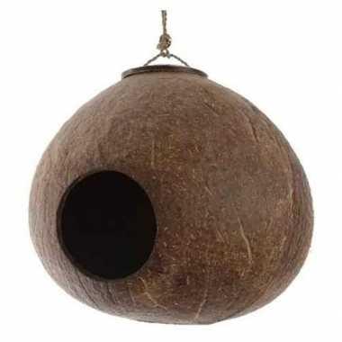 Vogelhuisje kokosnoot aan hanger 16 cm tuin versierings