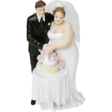 Volle dame bruidspaar taartversiering 14 cm