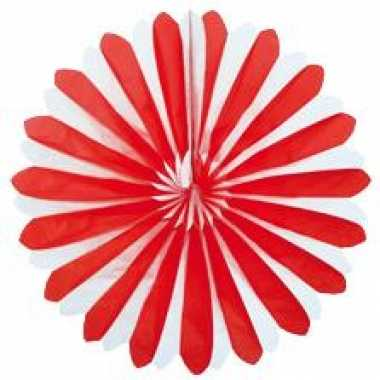 Waaier versiering rood wit 35 cm