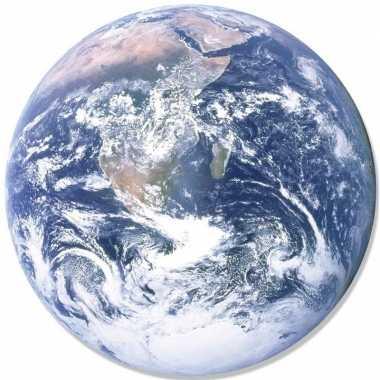 Wandversiering bord/poster aarde/globe 66 cm karton