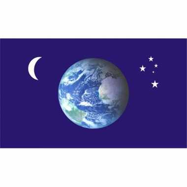 Wereldbol versiering vlag met sterren en maan
