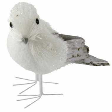 Winterversiering vogel met glitters type 2
