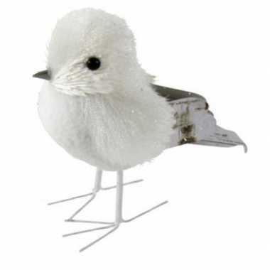 Winterversiering vogel met glitters type 3