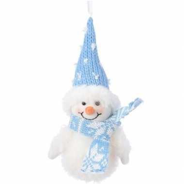 Wit/blauwe sneeuwpop type 1 kerstversiering hangversiering 20 cm