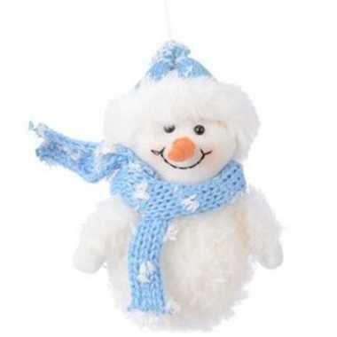 Wit/blauwe sneeuwpop type 2 kerstversiering hangversiering 14 cm