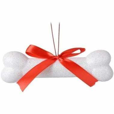 Wit glitter hondenbotje kerstversiering hangversiering 14 cm