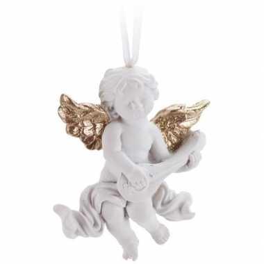 Wit/goud engeltje met lute kerstversiering hangversiering 8 cm