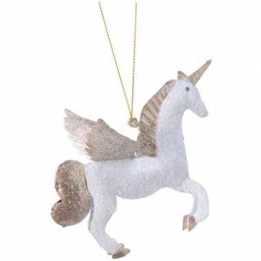 Wit/gouden eenhoorn kerstversiering hangversiering 9 cm