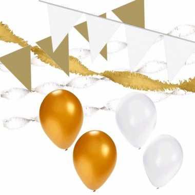 Wit/gouden feest versiering pakket xl