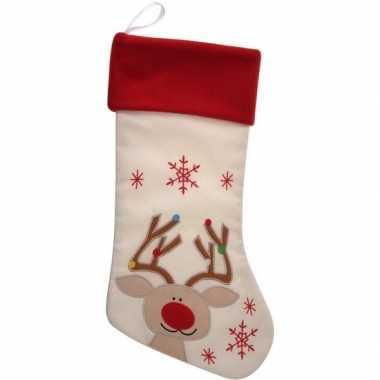 Wit/rode kerstsok kerstversiering met rendier borduursel 47 cm