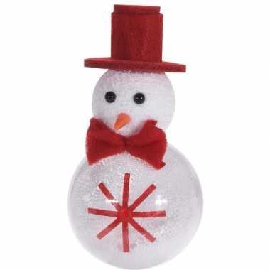 Wit/rode sneeuwpop kerstversiering hangversiering 12 cm