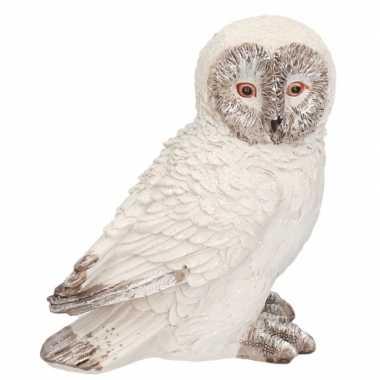 Wit sneeuwuil snowy vogel versiering beeldje 13 cm