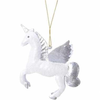 Wit/zilveren eenhoorn kerstversiering hangversiering 9 cm
