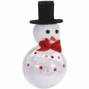 Wit/zwarte sneeuwpop kerstversiering hangversiering 12 cm