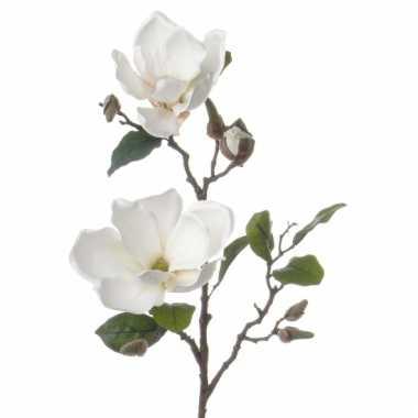 Witte magnolia versiering tak 72 cm