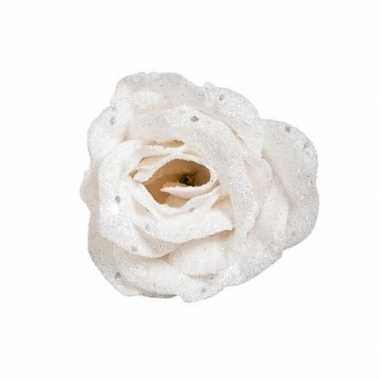 Witte roos met glitters op clip 7 cm kerstversiering