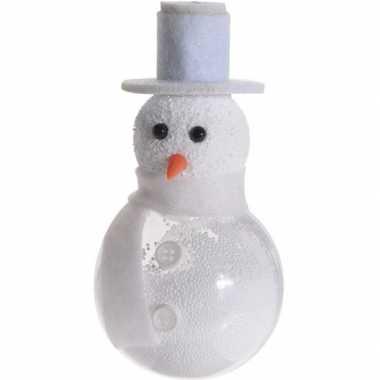 Witte sneeuwpop kerstversiering hangversiering 12 cm met knopen
