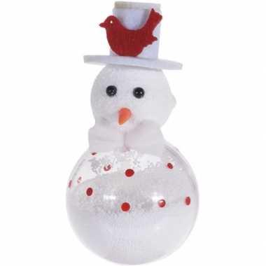 Witte sneeuwpop kerstversiering hangversiering 12 cm met vogel