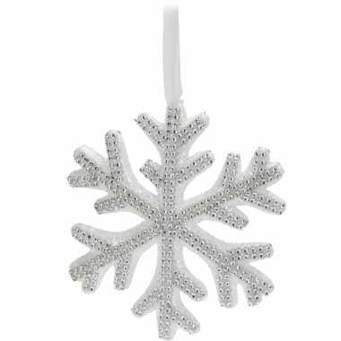 Witte sneeuwvlok kerstversiering met steentjes 25 cm