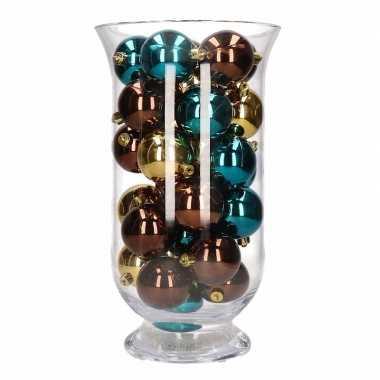 Woonversiering bruin gouden kerstballen in vaas