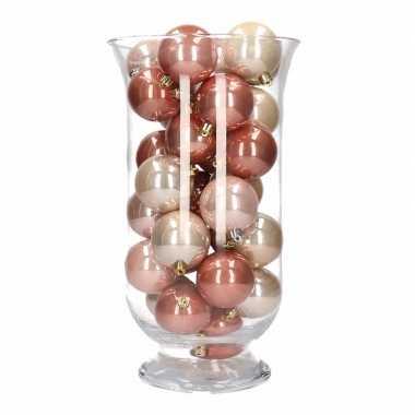 Woonversiering roze mix kerstballen in vaas