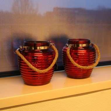Woonversiering vensterbank lantaarns rood 2 stuks