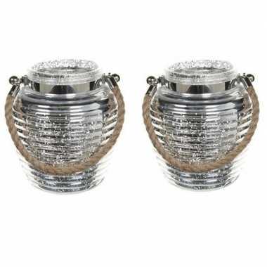 Woonversiering vensterbank lantaarns zilver 2 stuks