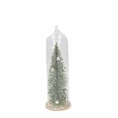 Zilveren kerstboom in stolp kerstversiering hangversiering 22 cm