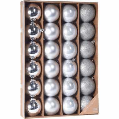 Zilveren kerstversiering kerstballenset 24 stuks kunststof 6 cm