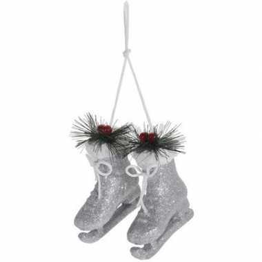 Zilveren schaatsen kerstversiering hangversiering 12 cm