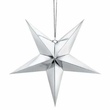 Zilveren ster 45 cm kerst versiering/versiering