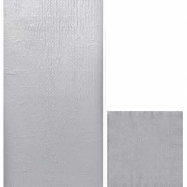 Zilveren tafelversiering set tafelkleed/servetten