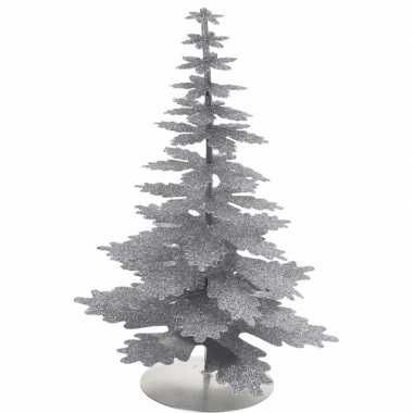 Zilveren versiering kerstboom glitter