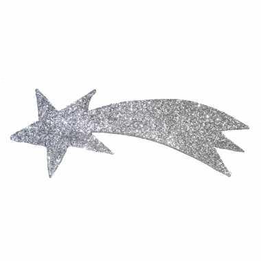 Zilveren versiering vallende ster met glitters 31 x 11 cm
