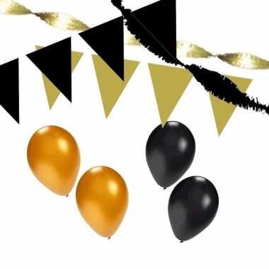 Zwart/gouden feest versiering pakket huiskamer